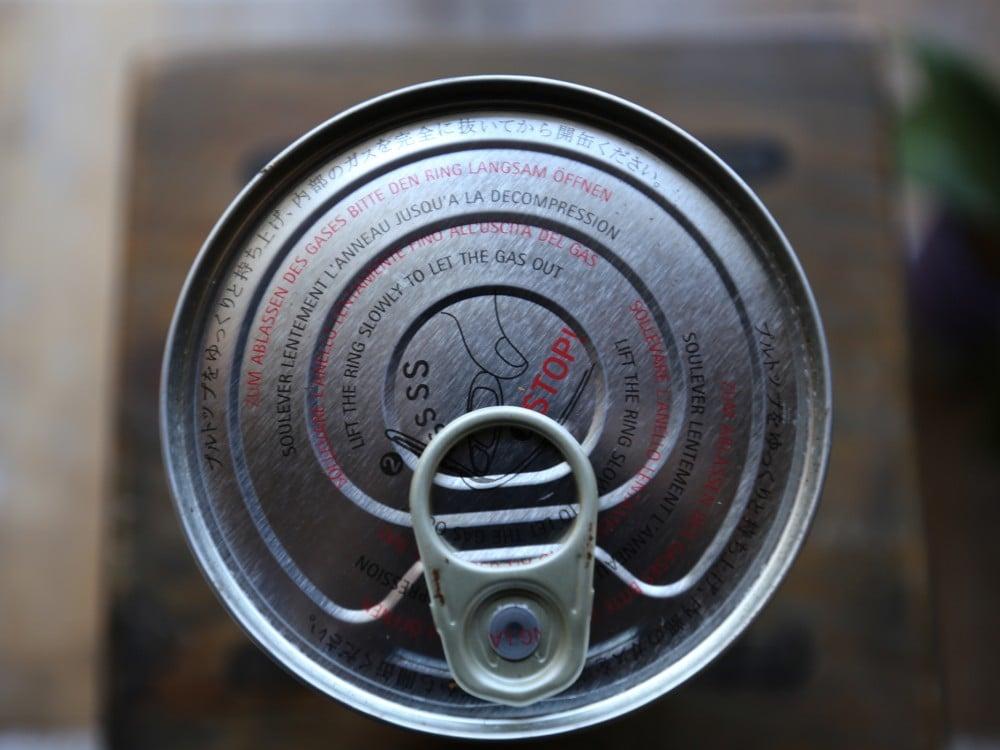 illyのパウダーコーヒー缶を上から見た所