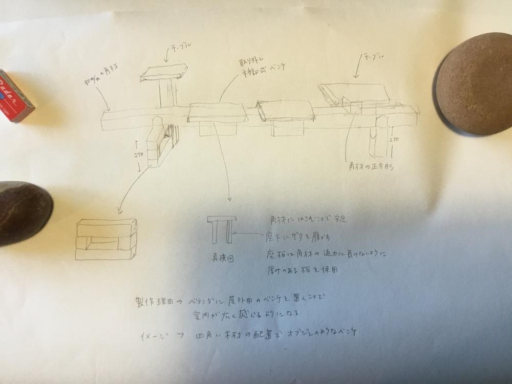 ベンチの図面