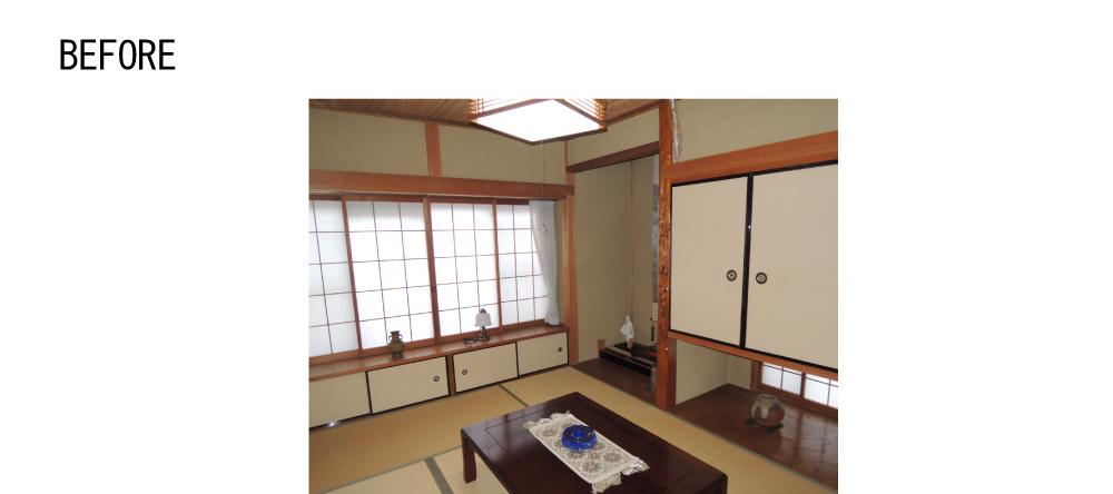 元は和室。写真右下の吊り押入の下が収納内部の窓になります。