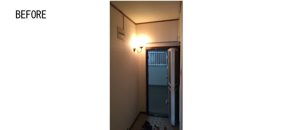 コンパクトな玄関でした。玄関照明は土間照明に再利用。