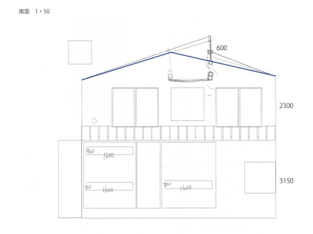 青いラインが元の屋根、黒いラインが新しい屋根。