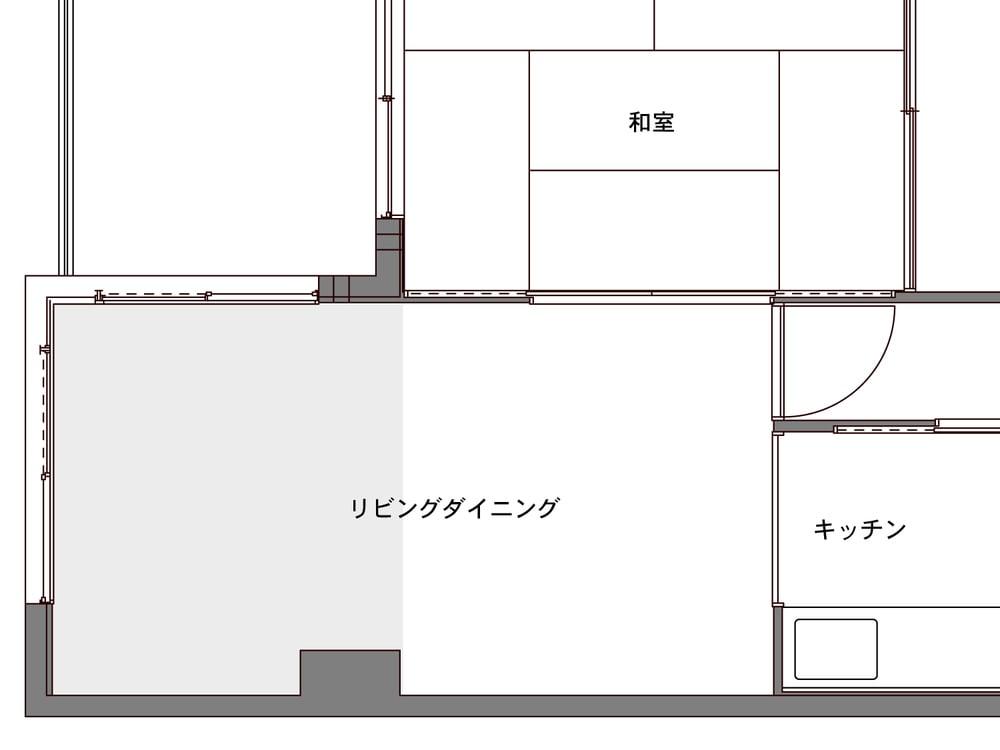 Before図面(ベッドルームは元リビング)