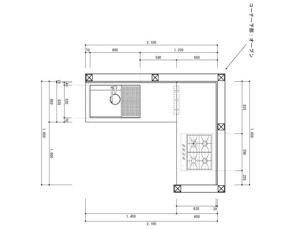 キッチン図面(上から)