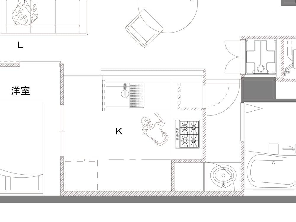 キッチンをI型からL字型にし、対面式にリノベーション。