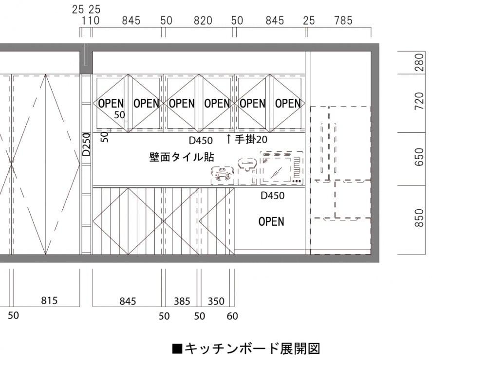 キッチンボードの展開図