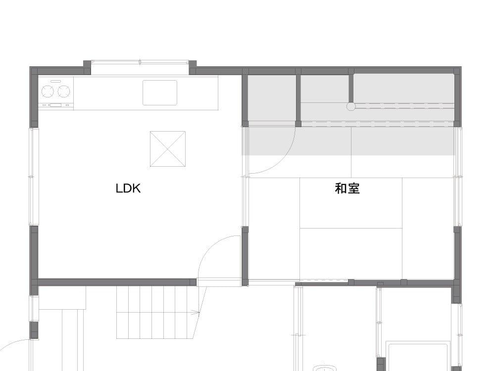 キッチンスペースのBefore図面