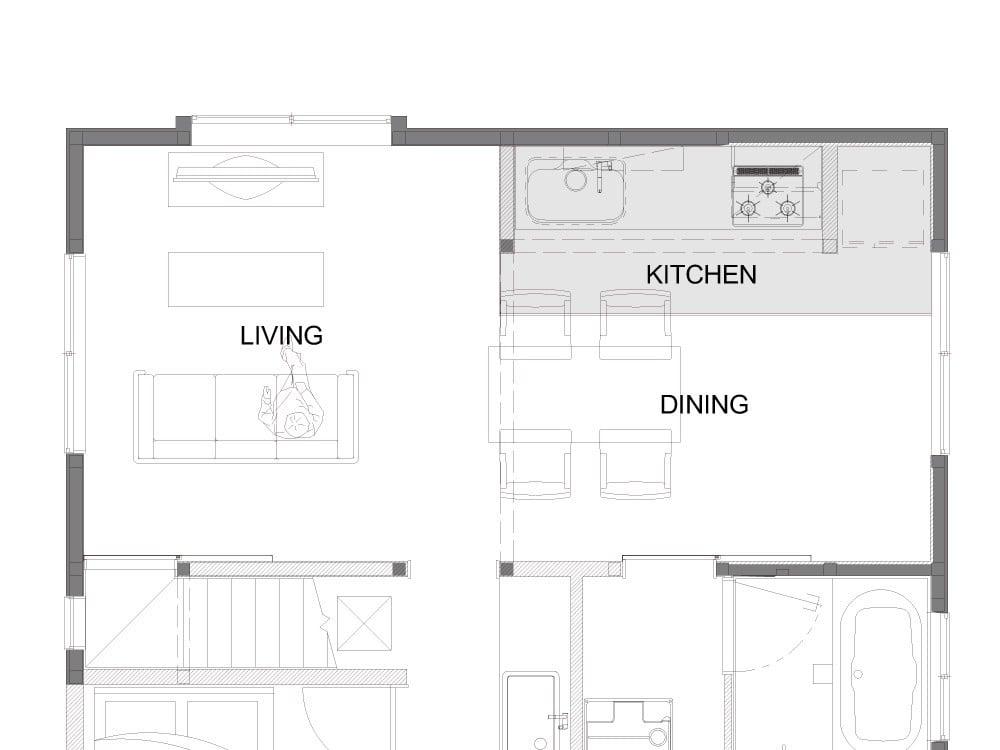 キッチンスペースのAfter図面